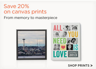 Save 20% on canvas prints