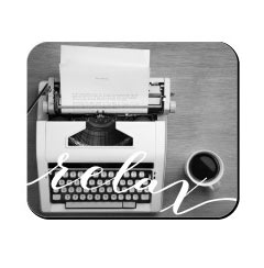 'Typewriter and Coffee' Mouse Pad created using a free image from the new Shutterfly Art Library 'Black & White' collection