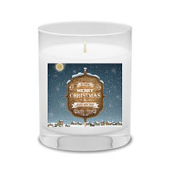 'Christmas Greeting' Candle created using a free image from the new Shutterfly Art Library 'Holiday' collection