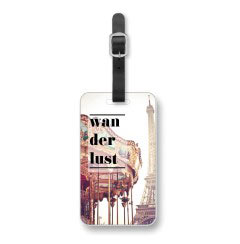 'Wanderlust' Luggage Tag created using a free image from the new Shutterfly Art Library 'Quotes' collection