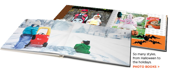 So many styles, from Halloween to the holidays. PHOTO BOOKS