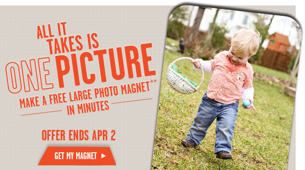 ALL IT TAKES IS ONE PICTURE - MAKE A FREE LARGE PHOTO MAGNET** IN MINUTES