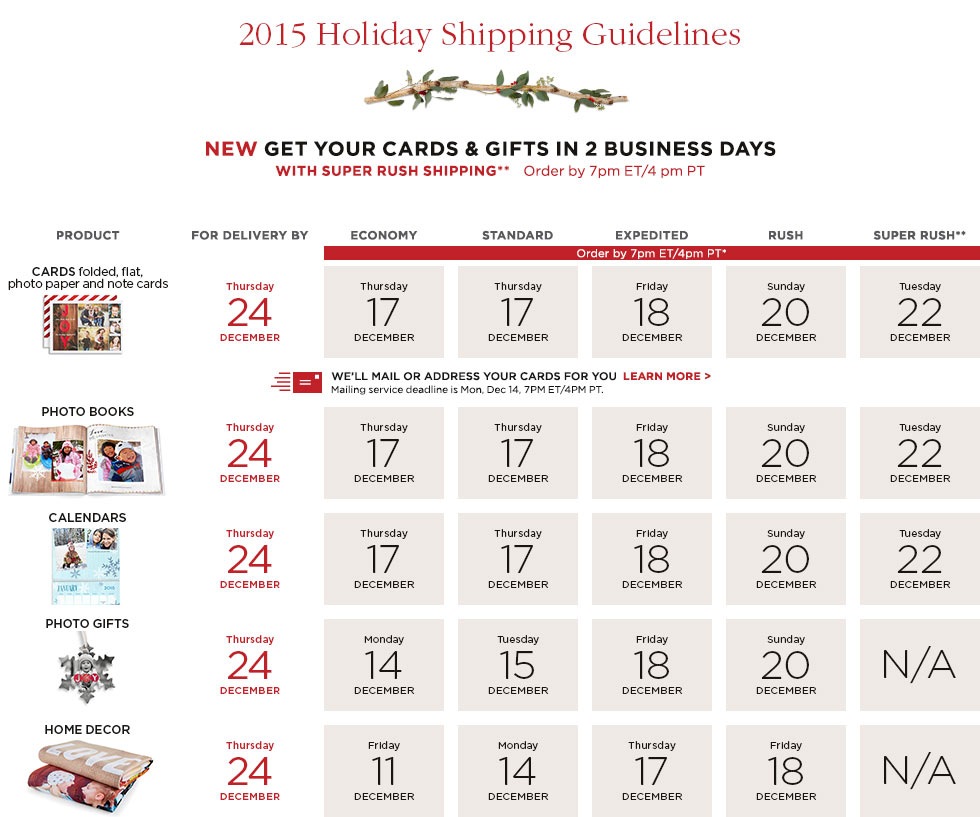 2015 Holiday Shipping Guidelines