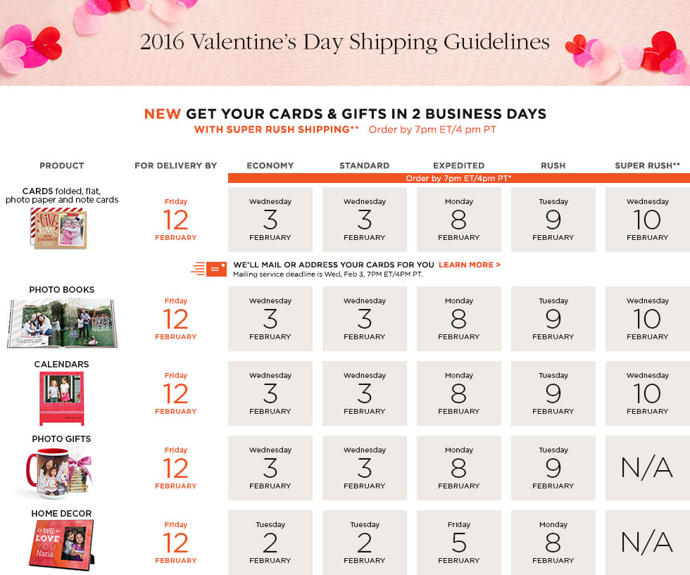 2016 Valentine's Day Shipping Guidelines