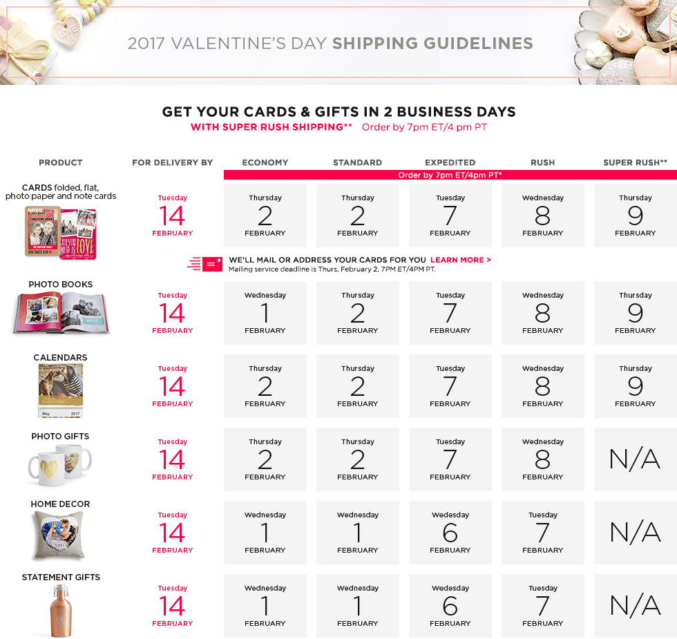 2017 Valentine's Day Shipping Guidelines