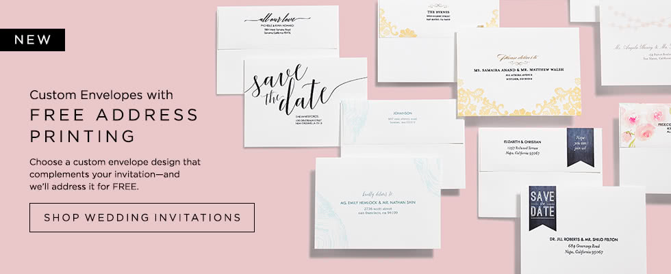 Custom Envelopes with FREE ADDRESS PRINTING - Shop Wedding Invitations