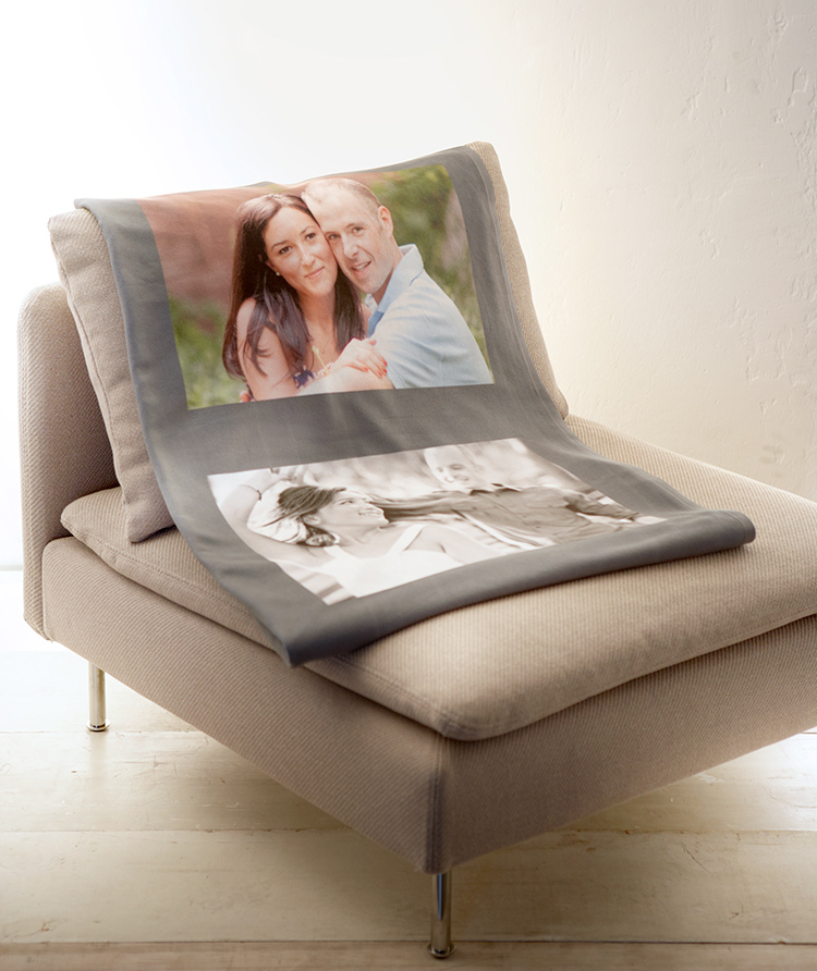 Shutterfly's fleece blankets are cozy and feature a variety of backgrounds and layouts.