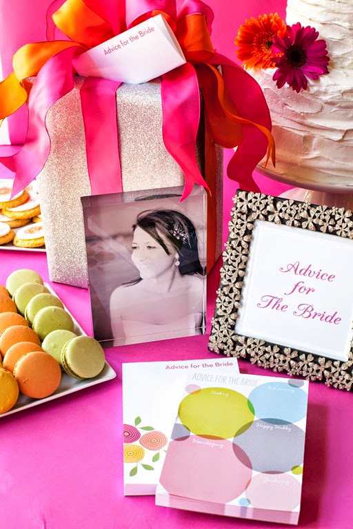 Encourage bridal shower guests to share their words of wisdom with an
