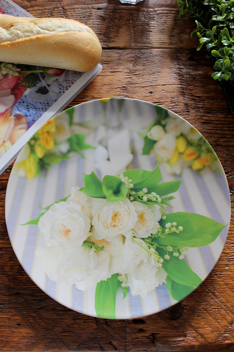 Create beautiful, one-of-a-kind plates with photos of favorite flowers—perfect for outdoor garden parties.
