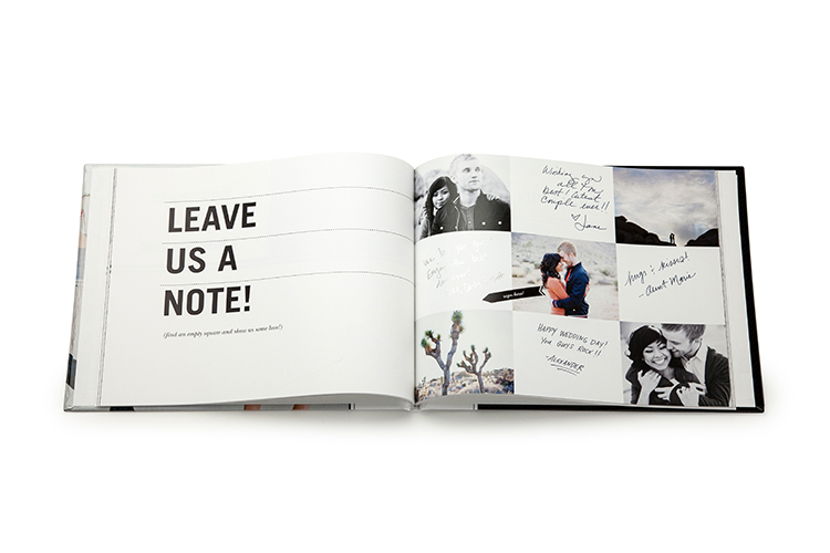 A personalized guestbook lets you tell your love story—more fun for guests, and a more meaningful keepsake for you!