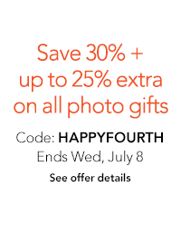 Save 30% on photo gifts + up to 25% off extra