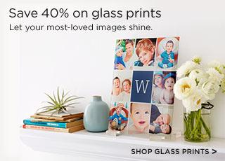 Save 40% on glass prints