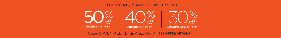 save 50%, 40%, or 30%