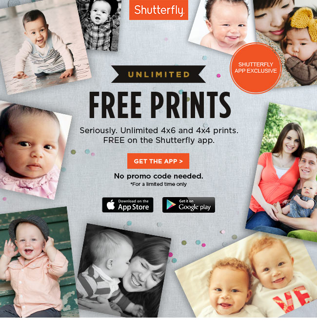 surprise unlimited free prints on the shutterfly app just pay