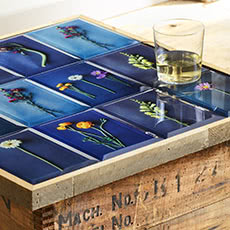 Learn how to make this Floral Flat Glass Tabletop at the Shutterfly Design Studio.