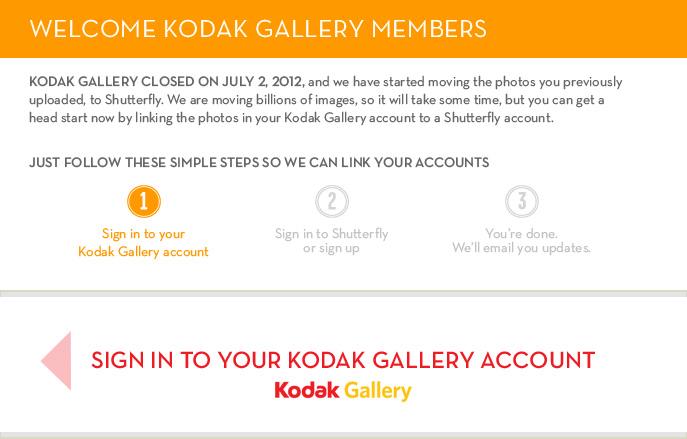 Hello Kodak Gallery Member