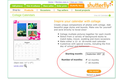 Select Calendar type and Start Date