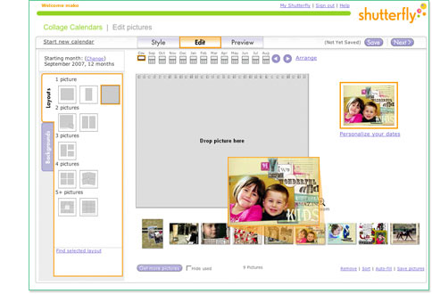 Drag and drop images into layouts and complete calendar creation