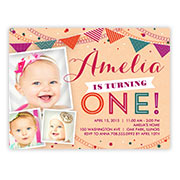 Baby Girls 1st Birthday Invitations